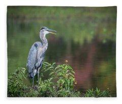 Advice From A Great Blue Heron Fleece Blanket