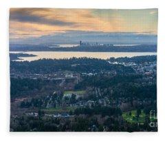 Aerial Bellevue And Seattle Skylines Fleece Blanket