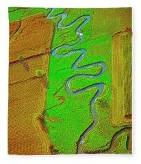 Aerial Farm Stream Pasture Fields Fleece Blanket