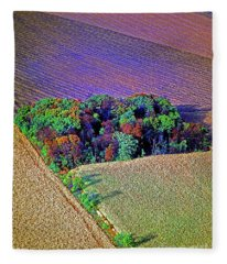 Aerial Farm Tree Top Grove  Fleece Blanket