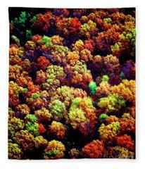 Aerial Farm Tree Tops Fall Ff Fleece Blanket