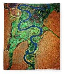 Aerial Farm Wet Lands Stream  Fleece Blanket