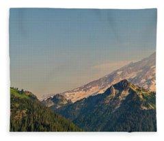 Aerial Mount Rainier And Tatoosh Range Panorama Fleece Blanket