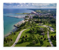 Aerial Of Port Washington Fleece Blanket