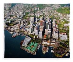 Aerial Panorama - Downtown - City Of Honolulu, Oahu, Hawaii  Fleece Blanket