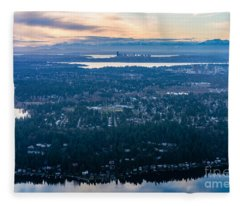 Aerial Seattle And Bellevue Skylines Across Lake Washington And Lake Sammamish Towards The Cascades Fleece Blanket