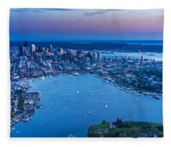 Aerial Seattle And Lake Union Fleece Blanket