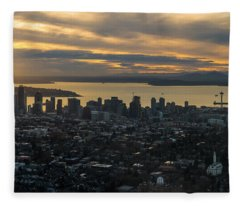 Aerial Seattle Skyline Panorama Looking West Fleece Blanket