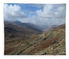 Aerial Shot Of Mountainous Karakoram Highway Babusar Pass Pakistan Fleece Blanket