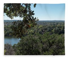 Aerial View Of Large Forest And Lake Fleece Blanket