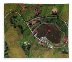 Fleece Blanket featuring the photograph aerial view Paddy field by Pradeep Raja PRINTS