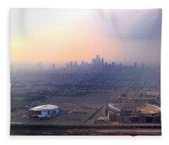 Aerial View - Philadelphia's Stadiums With Cityscape  Fleece Blanket