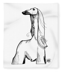 Afghan Hound Gesture Sketch Fleece Blanket