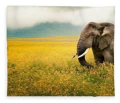 African Elephant Fleece Blanket