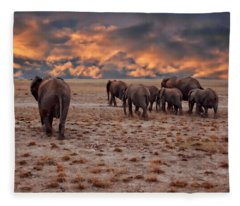 African Elephants Fleece Blanket