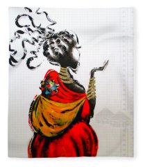 African Lady And Baby Fleece Blanket