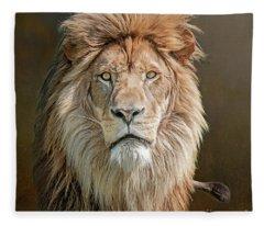 African Lion Portrait Fleece Blanket