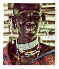 African Maasai Teacher Fleece Blanket