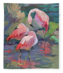African Pink Flamingos Fleece Blanket