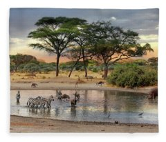 African Safari Wildlife At The Waterhole Fleece Blanket