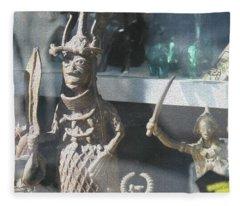 African Warrior Figurine Fleece Blanket