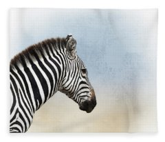African Zebra Closeup Square Fleece Blanket