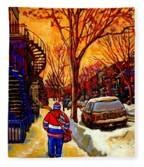After The Hockey Game A Winter Walk At Sundown Montreal City Scene Painting  By Carole Spandau Fleece Blanket
