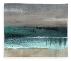 After The Storm 2- Abstract Beach Landscape By Linda Woods Fleece Blanket