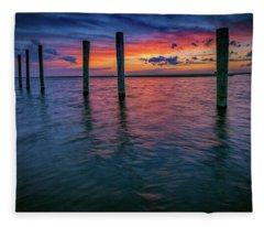 Afterglow On Great South Bay Fleece Blanket