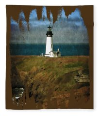 Afternoon At The Yaquina Head Lighthouse Fleece Blanket