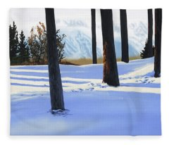 Afternoon In Snowy Mountains Fleece Blanket