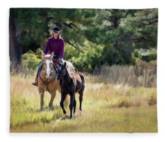 Afternoon Ride In The Sun - Cowgirl Riding Palomino Horse With Foal Fleece Blanket
