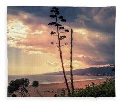 Agava Overlooking The Bay At Sunset Fleece Blanket