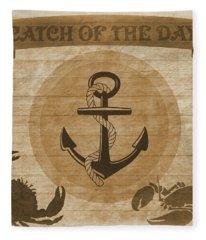 Aged Seafood Poster Fleece Blanket