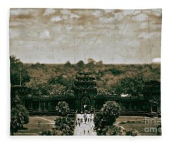 Aged To Perfection At Angkor Wat Temple, Siem Reap Province, Cambodia Fleece Blanket