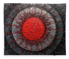 Red And Black Abstract Fleece Blanket