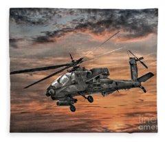 Ah-64 Apache Attack Helicopter Fleece Blanket