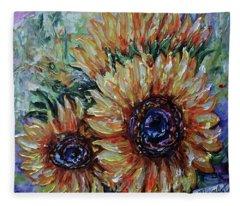 Ah, Sunflower Palette Knife Oil  Painting  Fleece Blanket