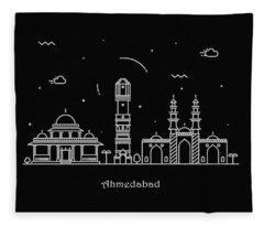 Ahmedabad Skyline Travel Poster Fleece Blanket