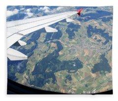 Air Berlin Over Switzerland Fleece Blanket