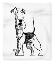 Airedale Terrier Gesture Sketch Fleece Blanket