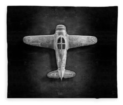 Airplane Scrapper In Bw Fleece Blanket