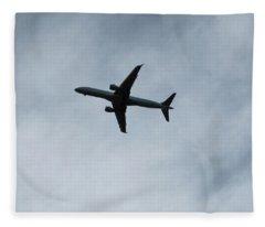 Airplane Silhouette Fleece Blanket