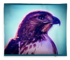 Ak-chin Red-tailed Hawk Portrait Fleece Blanket