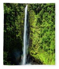 Akaka Falls With Rainbow Fleece Blanket