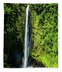 Akaka Falls With Rainbow Fleece Blanket