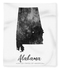 Alabama State Map Art - Grunge Silhouette Fleece Blanket