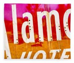 Alamo Hotel Sign Abstract Fleece Blanket