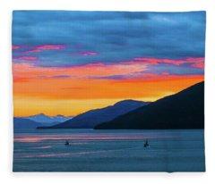 Alaska Fishermans Sunset Fleece Blanket