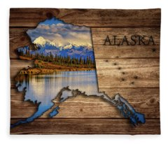 Alaska Map Collage Fleece Blanket